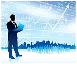 Businessman with graph and SkylineOriginal Vector IllustrationBusinessmen Concept