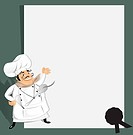 Chef with recipe,note pad or menu