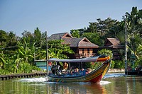 Boat or long tail boat with tourists, Khlong or Klong, canal, Bangkok, Thailand, Asia