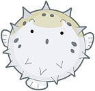 An Inflated Puffer Fish Isolated against White Background _ vector