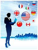 Finance Businesswoman with internet flag buttonsOriginal Vector Illustration