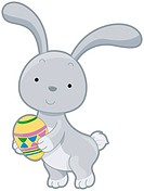 A Rabbit Holding an Easter Egg _ vector