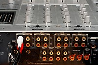 back panel with sockets of dj music mixer close_up