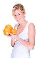 Full isolated portrait of a beautiful caucasian woman with some orange