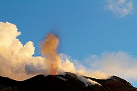 Strombolian eruption on the volcanic island of Stromboli, Sicily, Italy