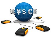 Mouse with international currency symbol surrounded a globe E_commerces concept 3d illustration