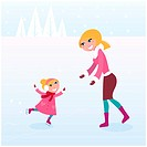 Mother carying about her small girl by ice skating. Vector Illustration.