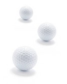 Golf Balls on Isolated White Background