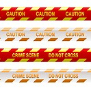 Four strips of crime scene tape in red and yellow with shadow effect