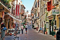 Old Town Pedestrian Street lined with Shops and Cafes  Chania, Crete, Greece