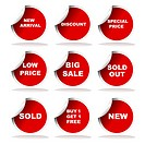 Set of red sale stickers and labels