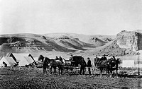 Thomas Clark Durant. American businessman. Photographed with his party at Green River, Wyoming, c1865.
