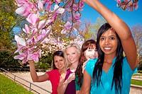 Vier junge Frauen stehen unter einem Magnolienbaum Magnolia