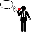 Big mouth business symbol man to broadcast a talk, ad, announcement, communication in a bullhorn & speech balloon. Includes clipping paths.