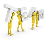 People in Teamwork.High Resolution 3D render isolated on white.
