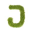Green alphabet, letter J isolated on white