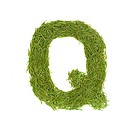 Green alphabet, letter Q isolated on white