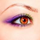 close_up portrait of beautiful girl´s eye zone make up