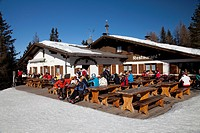 Restaurant Nagler Huette 1850m on Mt. Heiligkreuzkofel, Fanes mountains, Fanes-Sennes-Prags Nature Park, Val Badia, Alta Badia, Dolomites, South Tyrol...