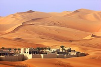 Anantara Qasr Al Sarab luxury desert hotel, built in the style of a kasbah, hotel resort, amidst huge sand dunes, near Liwa Oasis in the Empty Quarter...