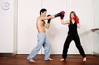 Straight right_hand punch of Active Tae Bo and inside block