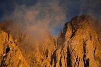 Mt. Latemar in the evening light, Dolomites, South Tyrol, Italy, Europe
