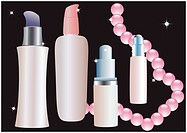 Cosmetic bottles and pink beads on a black background, vector.