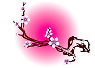 The branch of a flowering tree in the background with Japanese motifs.