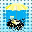 Abstract background with sun loungers and a yellow umbrella.