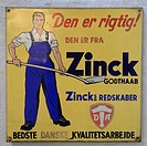 Enamel advertising sign, Godthaab Hammerværk Museum of Industry, forge of the former tool and agricultural equipment manufacturers Zinck, near Aalborg...