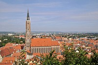 Cityscape with St. Martin's Church, Landshut, Lower Bavaria, Bavaria, Germany, Europe