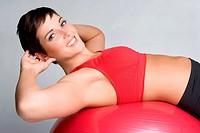 Beautiful smiling sit ups woman