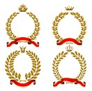 Set from gold laurel and oak wreath on the white background