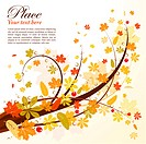 Autumn Background with leaf, element for design, vector illustration