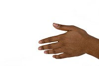 Studio portrait of young African American woman's hand on white background