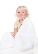 Baby Todller Boy Wrapped in a Bath Towel on White