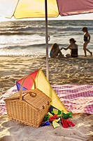 picnic basket, kite, blanket, parasol and family in backgroud at he beach.