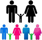Male and female gender signs with child sign isolated on white background. Family concept.