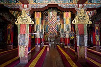 Main prayer room interior, Galden Namgyal Lhatse monastery, largest Buddhist monastery in India, Tawang, Arunachal Pradesh, India, Himalayas, Asia