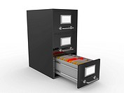 3D rendered open file drawer with documents over white background