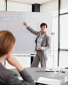 Businesswoman at whiteboard presenting to co-workers (thumbnail)