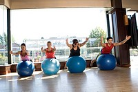 exercise, ball, dan, class, blue, female, aerobic