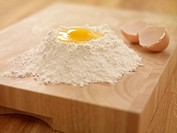 Egg yolk in flour nest