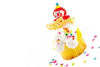 Happy Birthday Clown Cupcake with Happy Birthday message