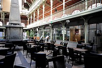 Bar Cafe, interior decoration of the former market hall, Halles Saint-Gery or Sint-Gorikshallen, city centre, Brussels, Belgium, Benelux, Europe