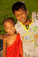 Two young friends at U Bein's bridge  Amarapura, Myanmar