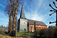 Historic church in Kollmar, Lower Elbe, Steinburg district, Krempermarsch, Elbmarsch, Schleswig_Holstein, Germany, Europe