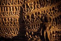Figurative decoration on a representation of Varaha, an incarnation of Vishnu, Khajuraho Group of Monuments, UNESCO World Heritage Site, Madhya Prades...