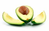 Ripe Sliced Avocado Isolated on White Background