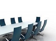 Meeting room table and chair 3d illustration